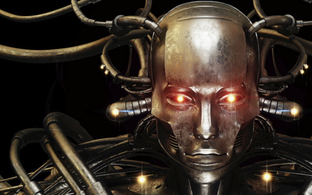 Image of a golden robot with glowing eyes