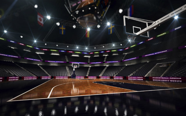 Image of an empty basketball court