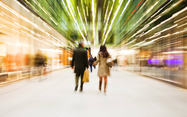 Blurry image of people shopping