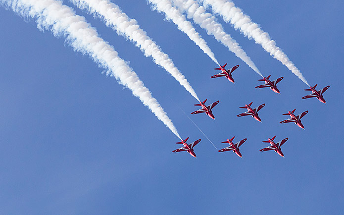 Planes flying in formation