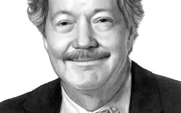 Black and white drawing of an older man with a mustache