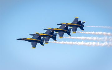 The Blue Angels flight demonstration squadron performing at 2015 San Francisco Fleet Week