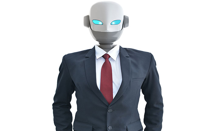 Robot Standing Against White Background