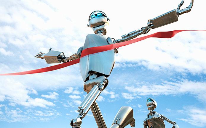 robots running in a race representing technology advancement