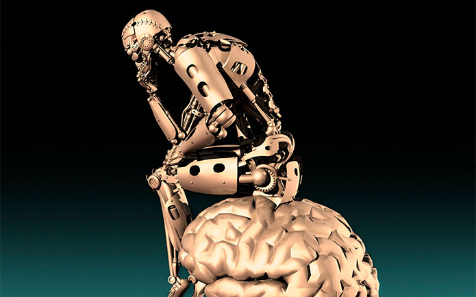 robot sitting on a brain