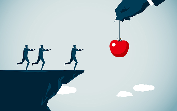 Image of three men running towards a dangling apple, unaware that the cliff ends